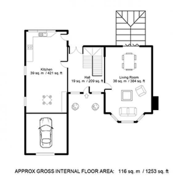Estate Agent Floor Plan with Furniture