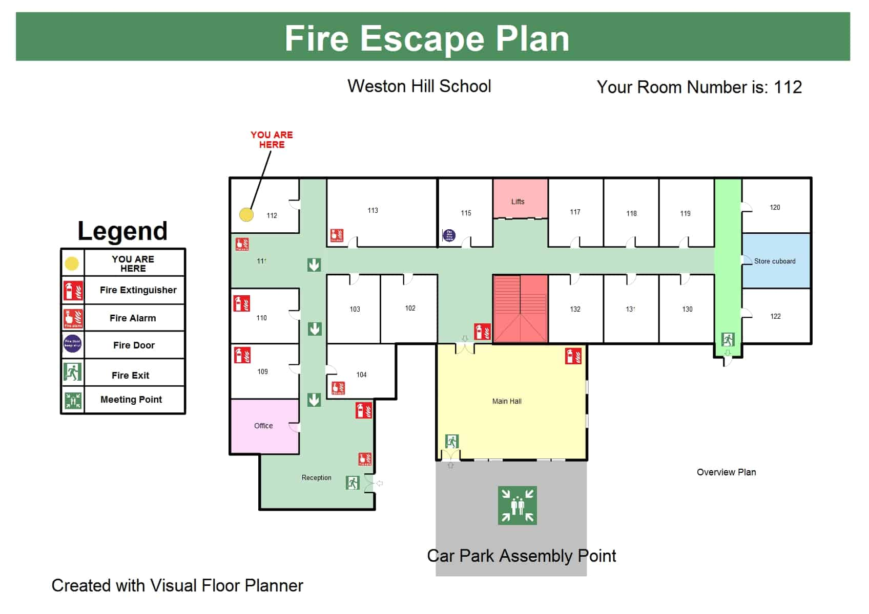 school fire escape floor plan