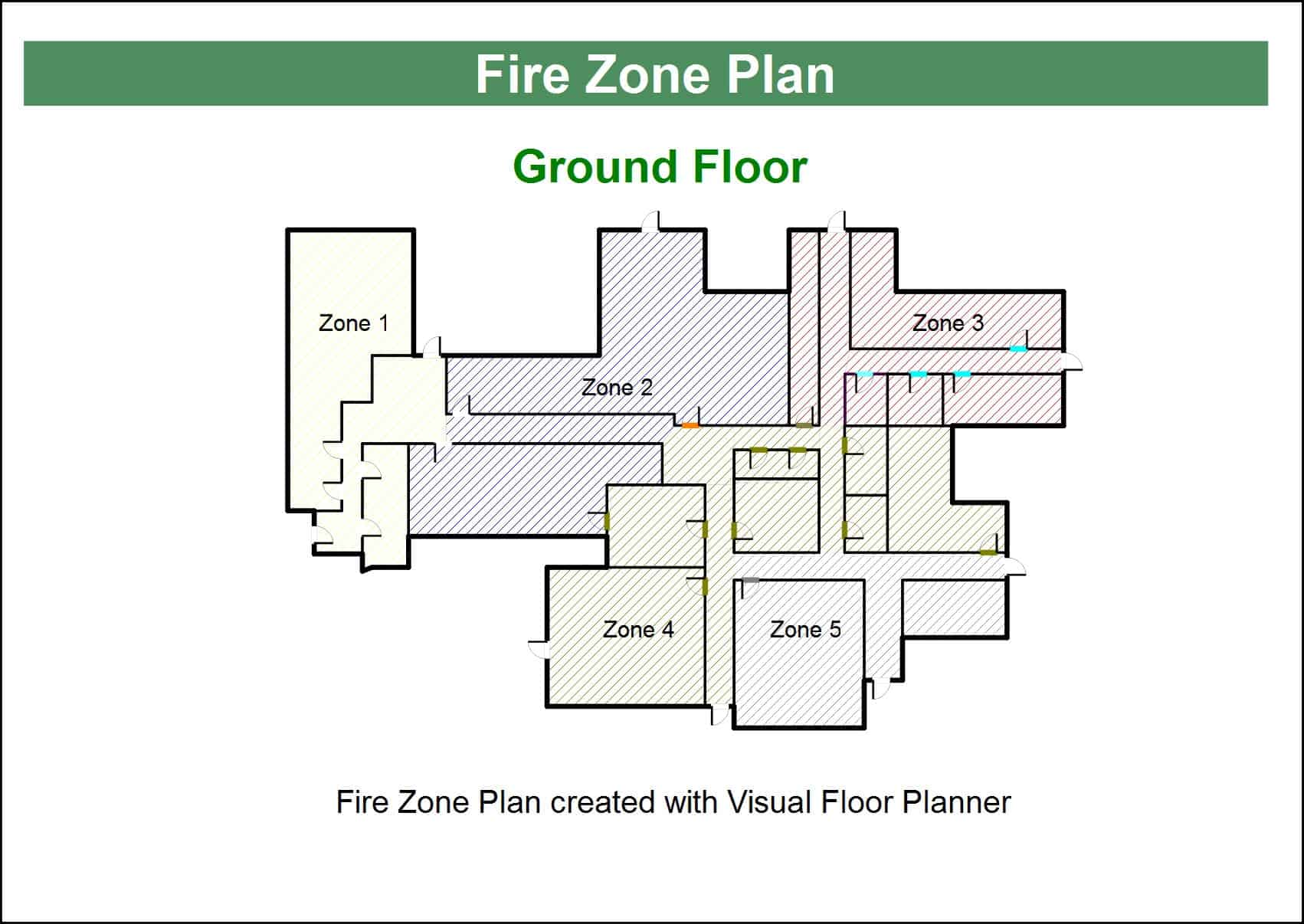 Hatched and Colored Floor Plan Example